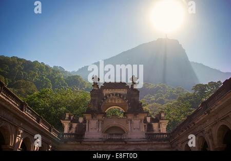 Distant view of Christ Redeemer Statue, Rio de Janeiro, Brazil - Stock Photo