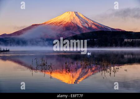 Japan, Mt.Fuji reflecting in Yamanaka lake - Stock Photo