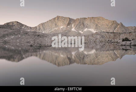 USA, California, Sierra National Forest, Reflections in 'Hell For Sure' Lake - Stock Photo