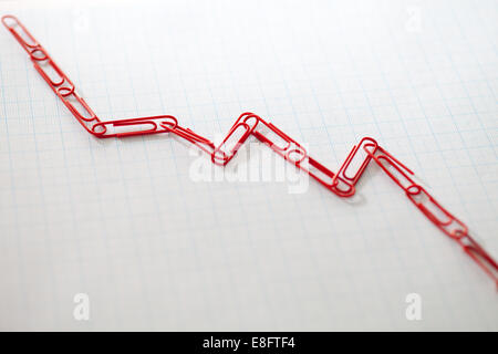 Linked paper clips on graph paper - Stock Photo