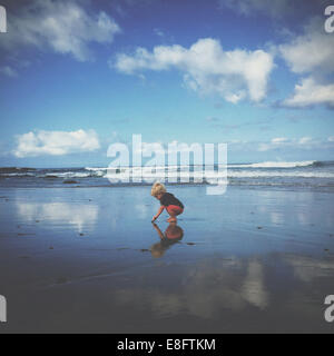 Boy playing on beach, california, america, USA - Stock Photo