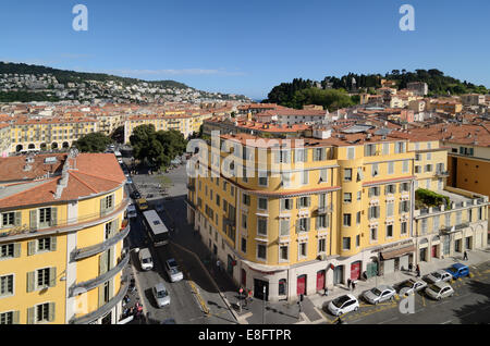 Panoramic View of the Old Town with the Place Garibaldi or Garibaldi Square & Site of Medieval Castle Nice Alpes - Stock Photo