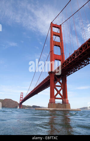 USA, California, San Francisco, Low angle view of Golden Gate Bridge - Stock Photo