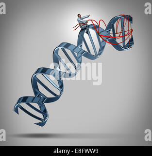 Genetic engineering and gene modification medical science concept as a doctor or researcher scientist guiding a - Stock Photo