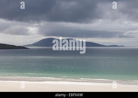 Luskentyre Beach stormy sky Isle of Harris, Scotland - Stock Photo