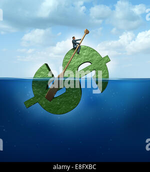 New markets concept as a financial destination and journey business concept as a businessman floating in the ocean - Stock Photo
