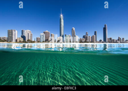 Australia, Gold Coast, Surfers Paradise, City skyline - Stock Photo