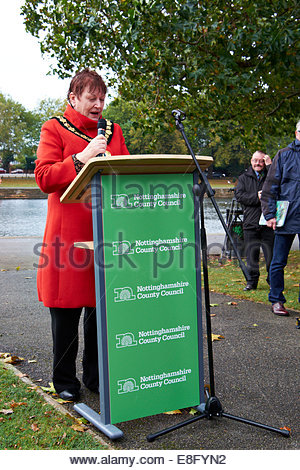 Nottingham, UK. 7th October, 2014.  Pauline Allen, Chairman of Notts County Council Former child migrants, many - Stock Photo