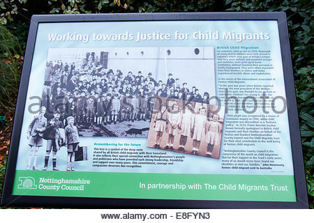 Nottingham, UK. 7th October, 2014.   Memorial plaque.  Former child migrants, many from Australia, their family - Stock Photo