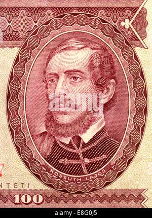 Detail from a 1984 Hungarian banknote showing Lajos Kossuth de Udvard et Kossuthfalva (1802-94) lawyer, journalist, - Stock Photo