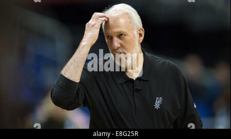Berlin, Germany. 7th Oct, 2014. San Antonio's coach Gregg Popovich during the training session by San Antonio Spurs - Stock Photo