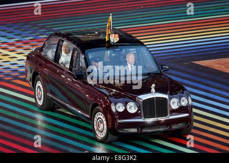 Her Royal Highness, Queen Elizabeth II, arrives. Opening Ceremony - Celtic Park - Glasgow Scotland, UK -  230714 - Stock Photo