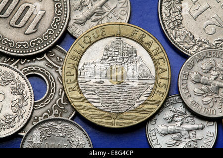 Coins of France. Mont Saint-Michel depicted in the old 20 French franc coin. - Stock Photo
