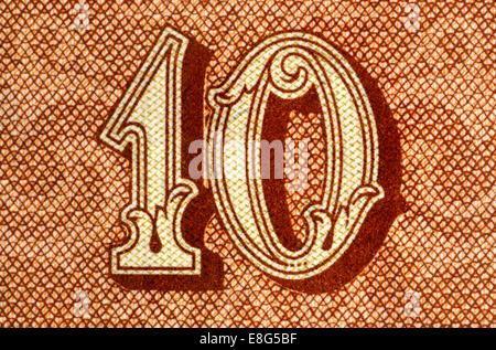 Detail from a 1953 Czechoslovakian 10 crown / Korun banknote - Stock Photo