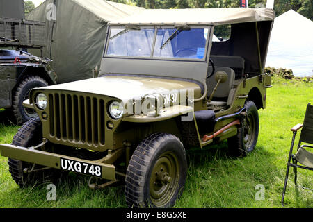 A vintage American Hotchkiss jeep on display at the Cromford Steam Rally, Tansley near Matlock, Derbyshire, England, - Stock Photo