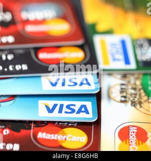 Tambov, Russian Federation - September 11, 2012 Visa and Mastercard logos on credit cards. Studio shot. - Stock Photo