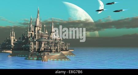 Three spacecraft come in to their home planet from a mission out in space. - Stock Photo