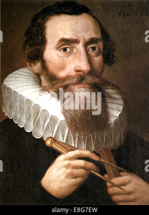 JOHANNES KEPLER (1571-1630) German mathematician and astronomer in a 1610 painting, artist unknown - Stock Photo