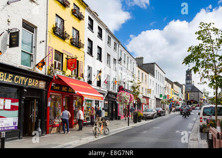Shops on the High Street in the town centre, Kilkenny City, County Kilkenny, Republic of Ireland - Stock Photo