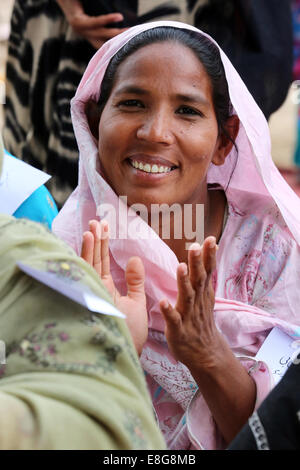 Portrait of a woman in a village near Faisalabad, Pakistan - Stock Photo