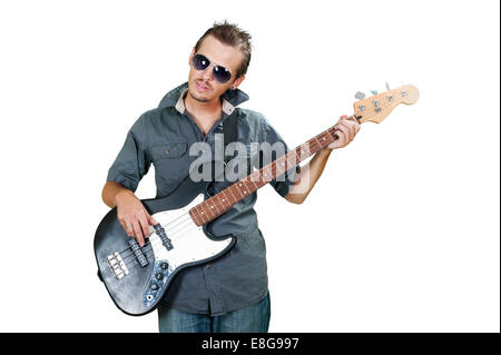 Cool european bass guitar player wearing sun glasses - Stock Photo