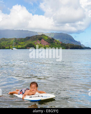 Young boy in Hanalei Bay - Stock Photo