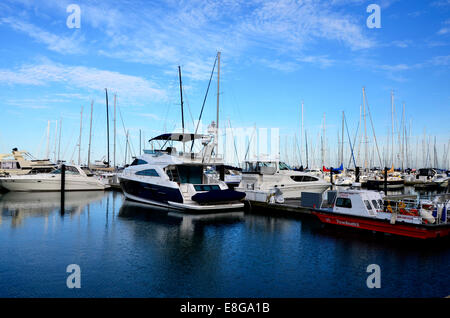 Boats in DuSable Harbour / Harbor - Stock Photo