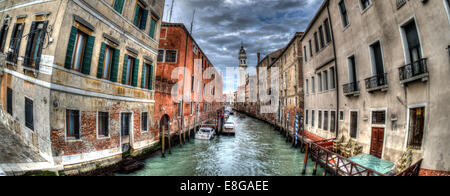 HDR panoramic image of a side canal off the Grand Canal, Venice. - Stock Photo