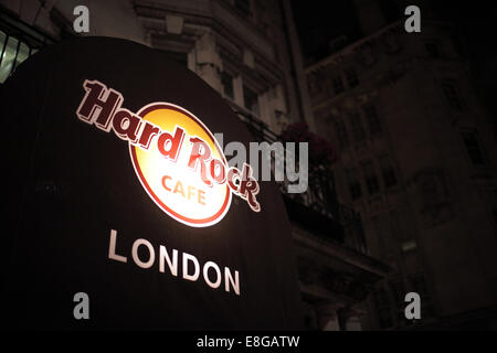 A view of the entrance sign at the Hard Rock Cafe in London - Stock Photo