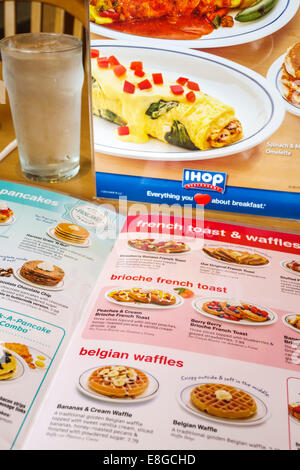 Naples Florida IHOP restaurant inside menu waffles French toast breakfast - Stock Photo