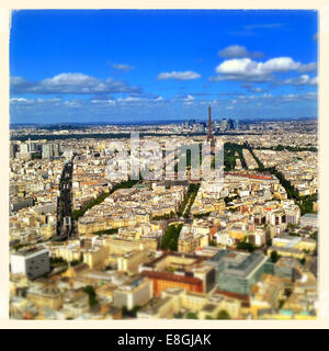 Paris, Ile-de-France, Paris skyline seen from Tour Montparnasse 56 - Stock Photo
