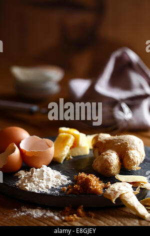 Eggs, ginger, flour, butter and sugar - Stock Photo
