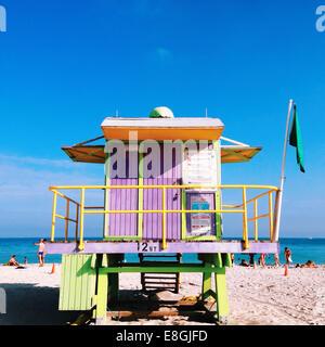 Lifeguard tower on the beach, california, America, USA - Stock Photo