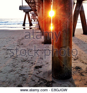 View of pier at sunset - Stock Photo