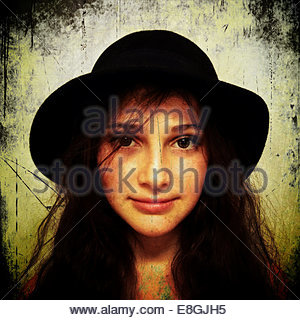 Portrait of girl wearing hat - Stock Photo