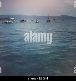 Boats anchored at sea - Stock Photo