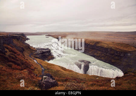 Gulfoss waterfall in winter, Iceland - Stock Photo