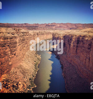 View of Colorado river from Navajo Bridge, Arizona, America, USA - Stock Photo