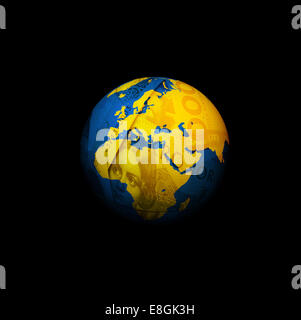 Digitally generated image of money globe - Stock Photo
