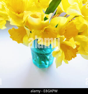 Bunch of daffodils in blue vase - Stock Photo