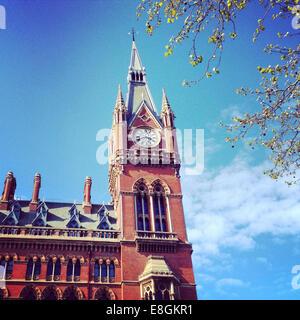 UK, London, Somers Town, King's Cross Square, St Pancras Clock Tower - Stock Photo