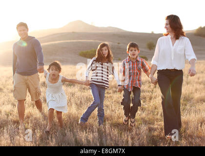 Family of five holding hands, walking in meadow - Stock Photo