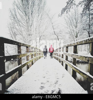 Rear view of two children walking across footbridge - Stock Photo