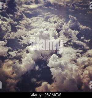 Cloudy sky from plane - Stock Photo