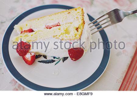United Kingdom, England, West Midlands, Warwickshire, Stratford-upon-Avon, Strawberry Shortcake - Stock Photo