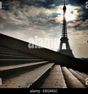 France, Paris, Eiffel Tower seen from steps - Stock Photo