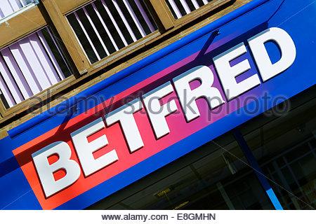 Betfred Betting shop sign, Poole, Dorset, England UK - Stock Photo