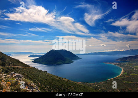 Panoramic view of the bay of Mytikas (Xiromero, Aitoloakarnania, Greece) from the ancient fortifications of Kastri. - Stock Photo