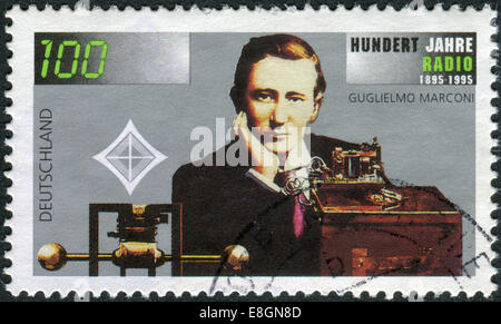 Stamp printed in Germany, 100th anniversary of the invention of radio, shows an engineer, physicist, Guglielmo Marconi - Stock Photo