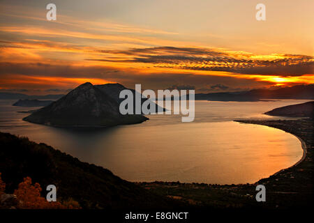 Sunset view of the bay of Mytikas (Municipality of Xiromero, Aitoloakarnania, Greece) from the ancient fortifications of Kastri Stock Photo